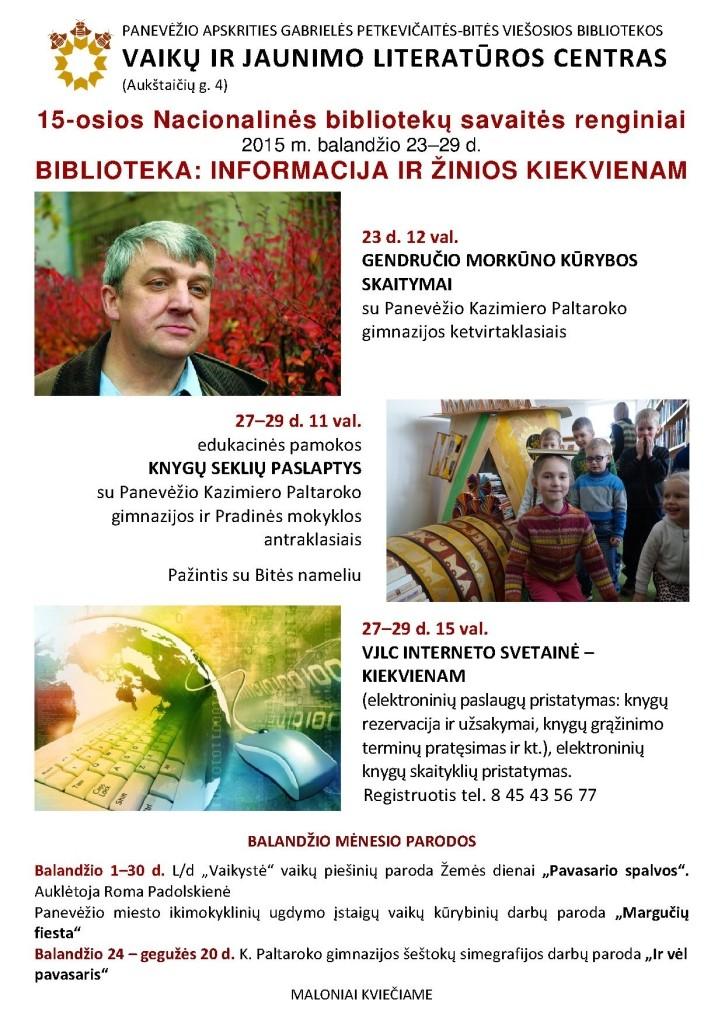 15-osios Nacionalinės bibliotekų savaitės renginiai