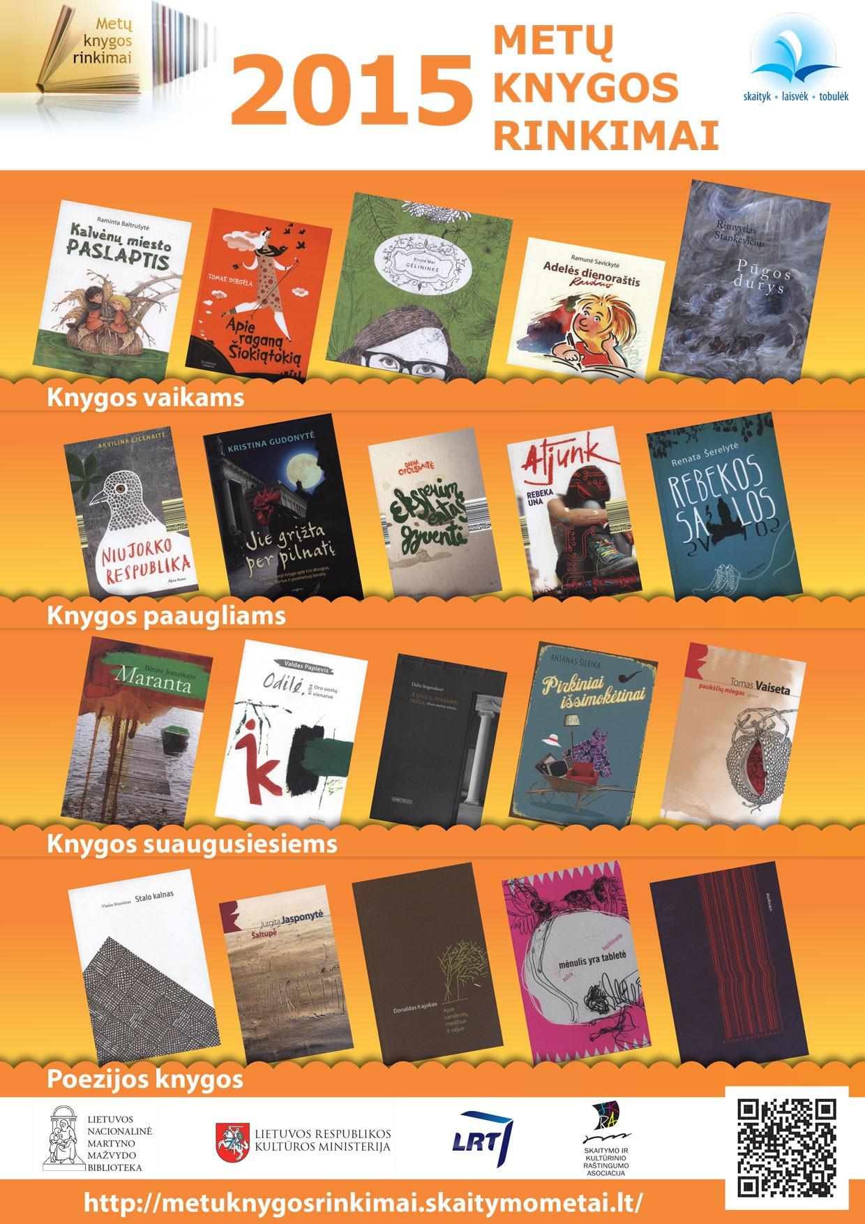 """Skelbiamas akcijos """"Metų knygos rinkimai 2015"""" konkursas moksleiviams"""