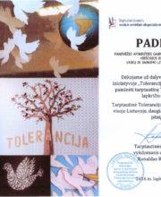 """Padėka už dalyvavimą pilietinėje iniciatyvoje """"Tolerancijos paukštis"""""""